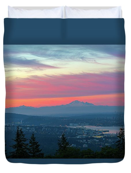 Vancouver Bc Cityscape With Cascade Range Morning View Duvet Cover by David Gn