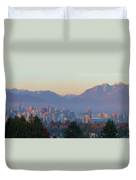 Vancouver Bc Downtown Cityscape At Sunset Panorama Duvet Cover