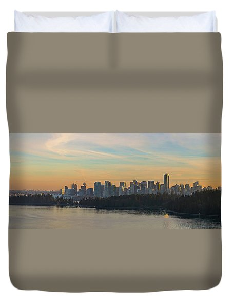 Vancouver Bc Skyline Along Stanley Park At Sunset Duvet Cover