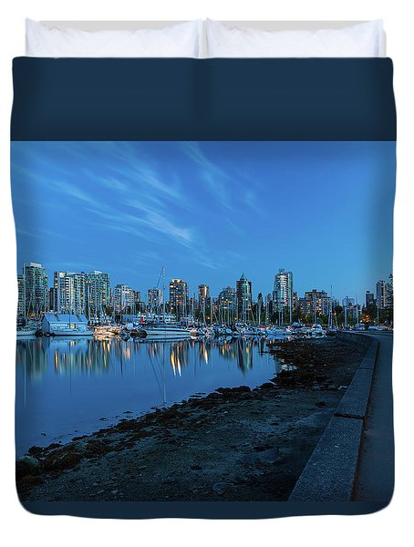 Vancouver Bc Skyline Along Stanley Park Seawall Duvet Cover by David Gn