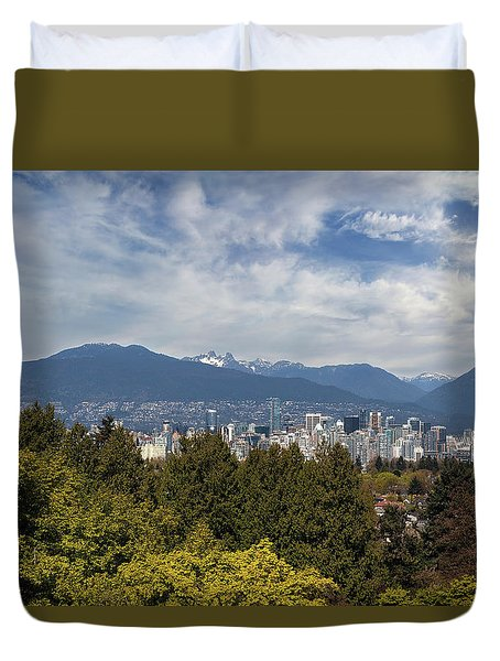 Vancouver Bc Skyline Daytime View Duvet Cover by David Gn