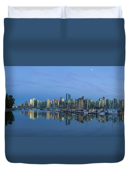 Vancouver Bc Skyline During Blue Hour Panorama Duvet Cover by David Gn