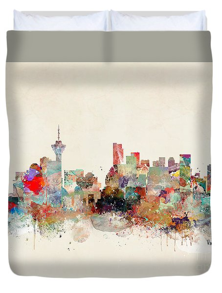 Duvet Cover featuring the painting Vancouver City Skyline by Bri B