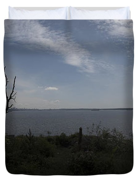 Vancouver From Afar Duvet Cover by Rod Wiens