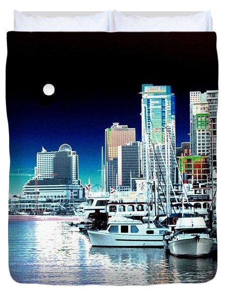 Vancouver Harbor Moonrise  Duvet Cover by Will Borden