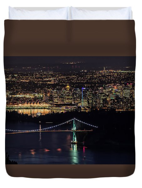 Vancouver Night From Cypress Mountain Duvet Cover