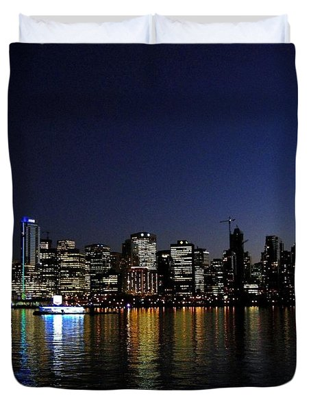 Vancouver Night Lights Duvet Cover by Will Borden