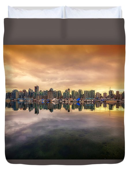 Duvet Cover featuring the photograph Vancouver Reflections by Eti Reid