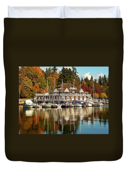 Vancouver Rowing Club In Autumn Duvet Cover