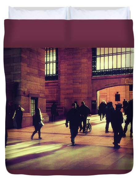 Duvet Cover featuring the photograph Grand Central Rush by Jessica Jenney
