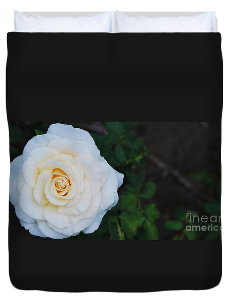 Duvet Cover featuring the photograph Vanilla Rose by Angela J Wright