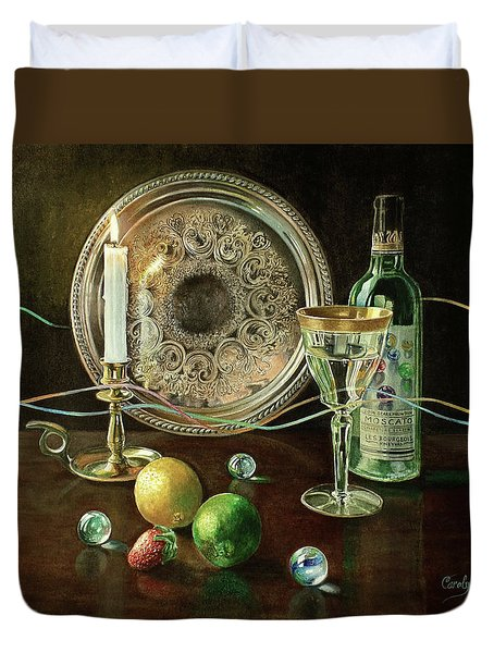 Vanitas Still Life By Candlelight With Les Bourgeois Wine Duvet Cover