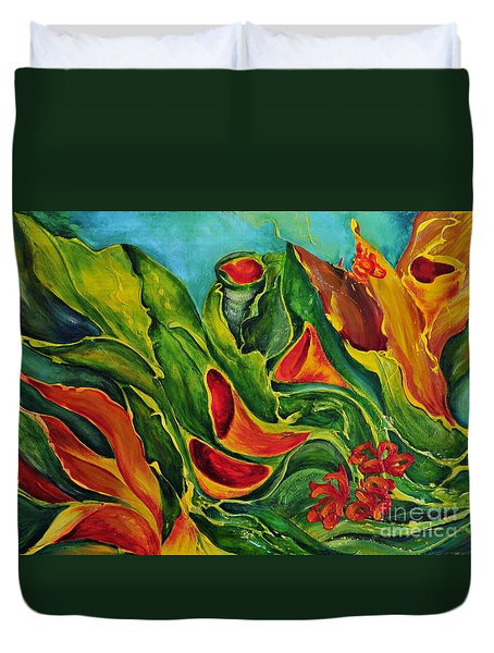 Duvet Cover featuring the painting Variation by Teresa Wegrzyn