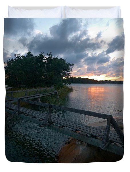 Duvet Cover featuring the photograph Variations Of Sunsets At Gulf Of Bothnia 6 by Jouko Lehto