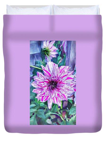 Variegated Dahlia In Oil Duvet Cover