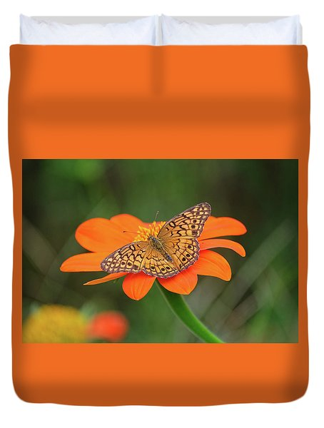 Variegated Fritillary On Flower Duvet Cover by Ronda Ryan