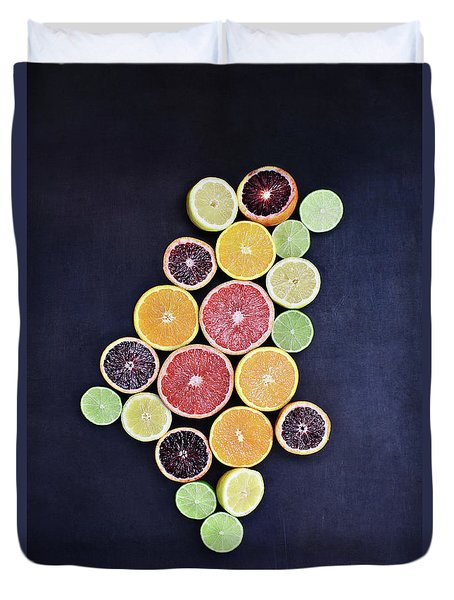 Duvet Cover featuring the photograph Variety Of Citrus Fruits by Stephanie Frey