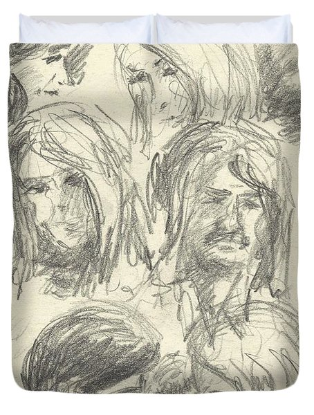 Various Sketches Of Men And Women 1 Duvet Cover