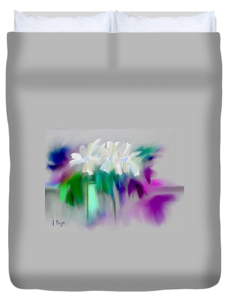 Duvet Cover featuring the digital art Vase And Blooms Abstract by Frank Bright