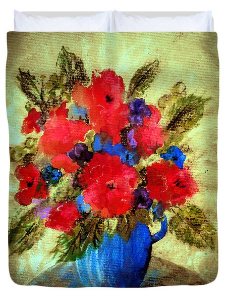 Vase Of Delight-still Life Painting By V.kelly Duvet Cover
