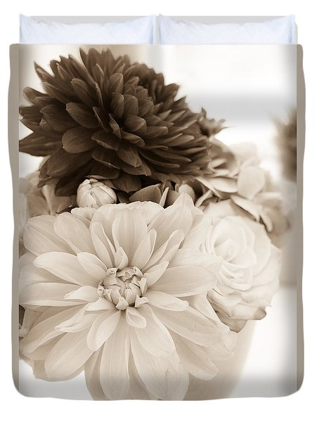 Vase Of Flowers In Sepia Duvet Cover