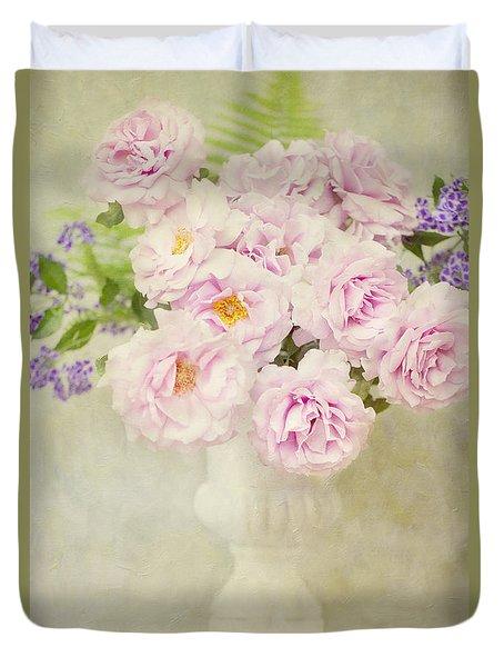 Vase Of Pink Roses Duvet Cover
