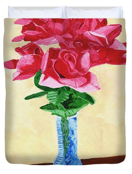 Duvet Cover featuring the painting Vase Of Red Roses by Rodney Campbell