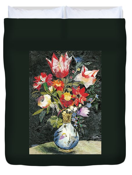 Vase With A Bird Duvet Cover by Nira Schwartz