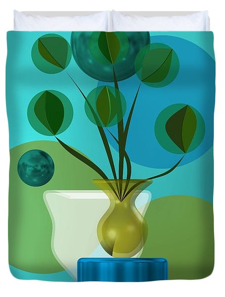 Vase With Bouquet Over Blue Duvet Cover