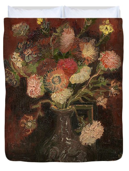 Vase With Chinese Asters And Gladioli Duvet Cover