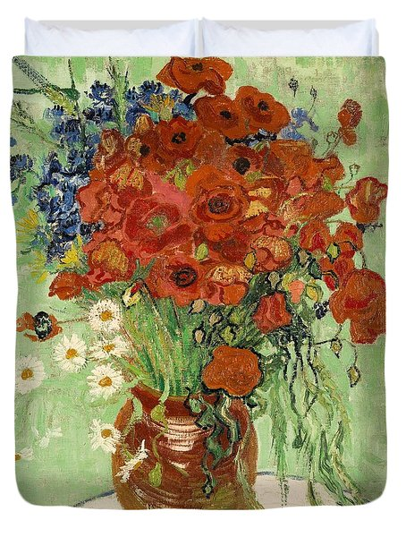 Duvet Cover featuring the painting Vase With Daisies And Poppies by Van Gogh