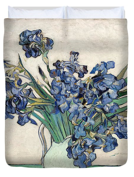 Duvet Cover featuring the painting Vase With Irises by Van Gogh