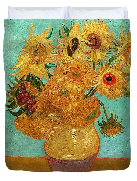 Duvet Cover featuring the painting Vase With Twelve Sunflowers by Van Gogh