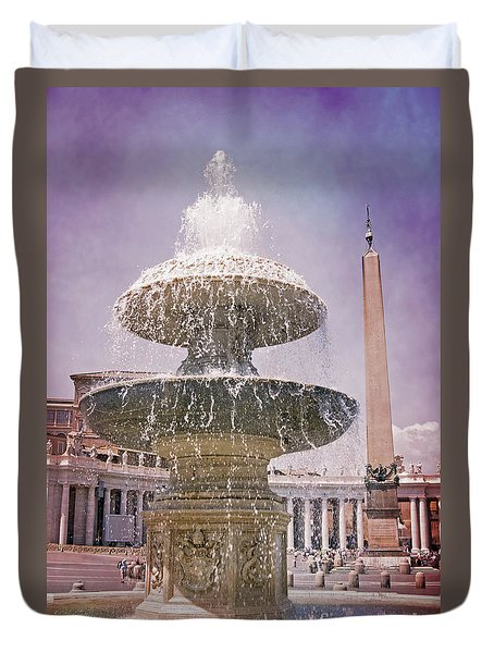 Vatican City Fountain Duvet Cover