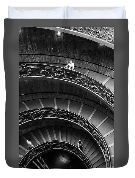 Duvet Cover featuring the digital art Vatican Stairs by Julian Perry