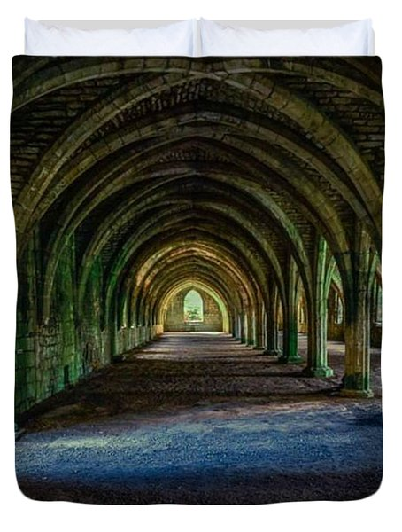 Vaulted, Fountains Abbey, Yorkshire, United Kingdom Duvet Cover