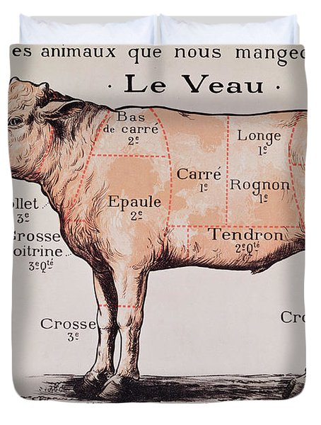 Veal   Diagram Depicting The Different Cuts Of Meat  Duvet Cover