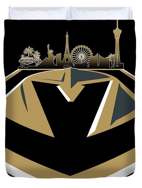 Vegas Golden Knights With Skyline Duvet Cover
