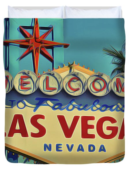 Duvet Cover featuring the painting Vegas by Harry Warrick