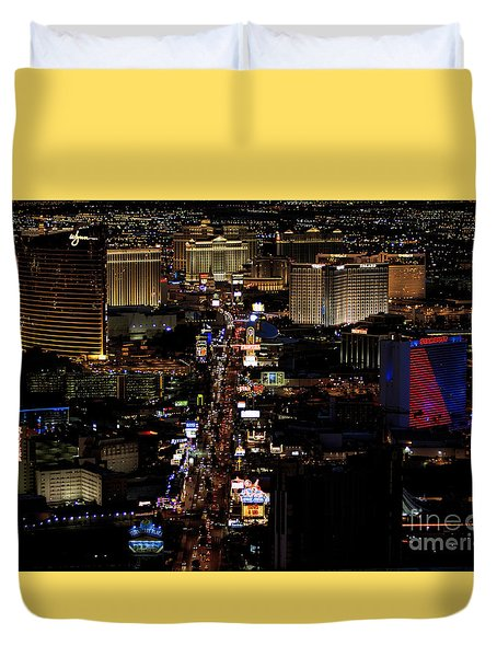 Vegas Night Lights Duvet Cover