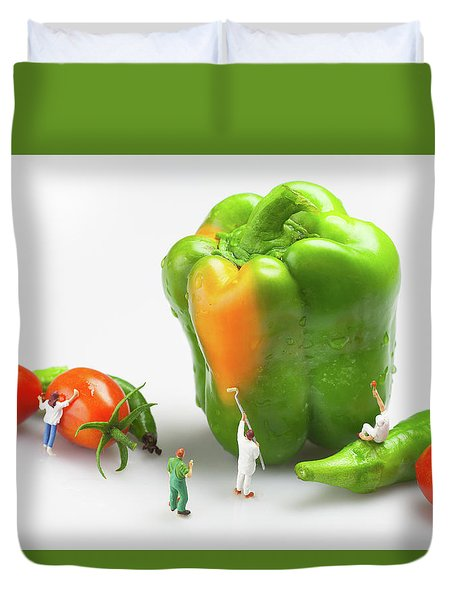 Duvet Cover featuring the painting Vegetable Painting Little People On Food by Paul Ge