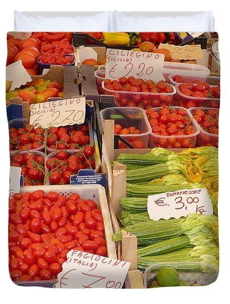 Vegetables At Italian Market Duvet Cover by Carol Groenen