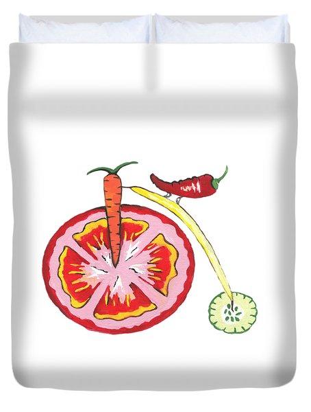 Duvet Cover featuring the painting Veggie Bike by Kathleen Sartoris