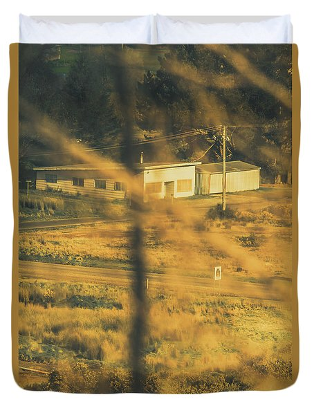 Vegitation View Of Rural Farm Homestead  Duvet Cover