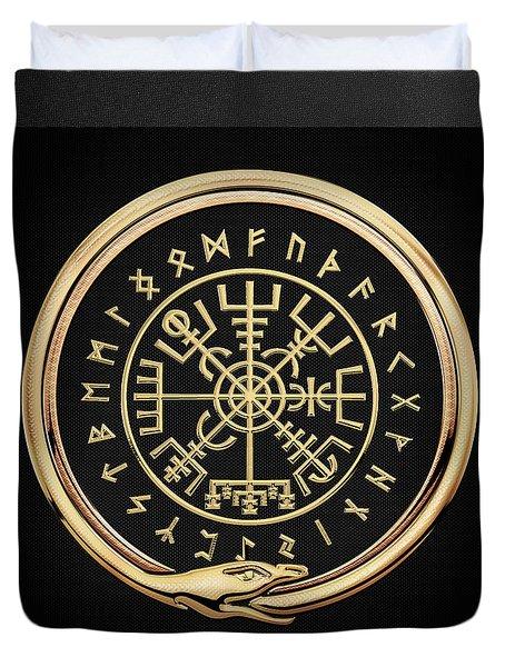 Vegvisir - A Magic Icelandic Viking Runic Compass - Gold On Black Duvet Cover