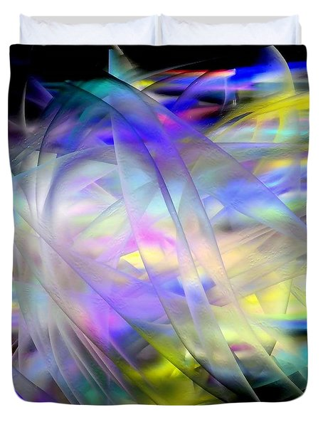 Duvet Cover featuring the digital art Veils Of Color by Greg Moores
