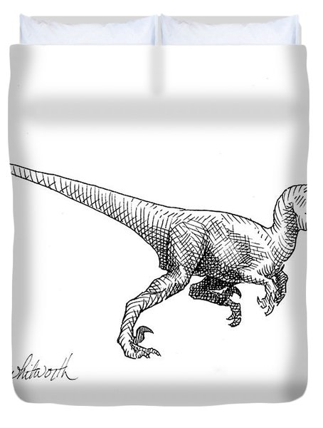 Velociraptor - Jurassic Dinosaur Science Illustration Black And White Contemporary Art Ink Drawing Duvet Cover