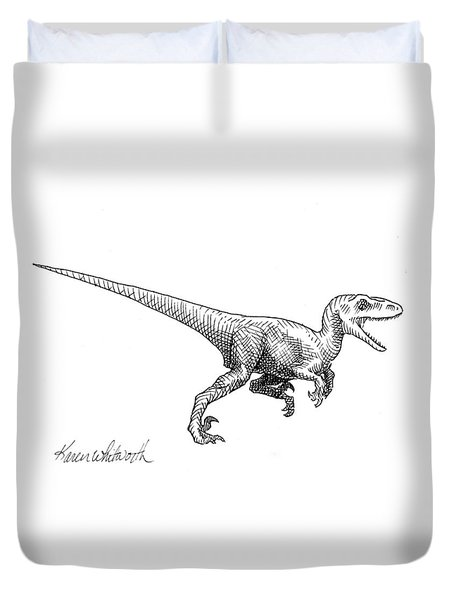 Duvet Cover featuring the drawing Velociraptor - Dinosaur Black And White Ink Drawing by Karen Whitworth