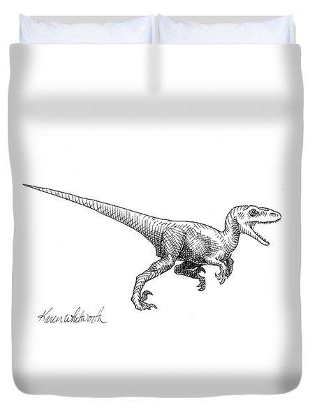 Velociraptor - Dinosaur Black And White Ink Drawing Duvet Cover