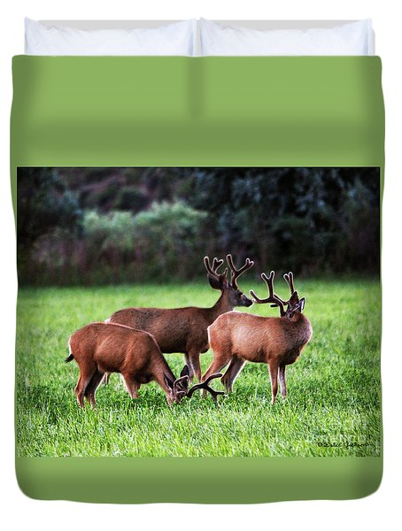 Velvet Antlers In The Sunset Duvet Cover